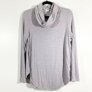 LOFT Gray Curved Hem Cowl Neck Tunic Pullover Top